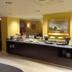 Granite countertops and rich dark cabinets are found throughout the lounge.  It is spacious and very open.  A variety of foods are available at different times throughout the day.
