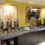 Both morning and evening, as well as throughout the day, guests will find hot and cold beverage.  The small refrigerator seen besides the orange juice is always accessible to guests.