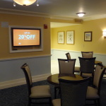 Guests will find a variety of channels that can be accessed on this TV located in the second seating area.